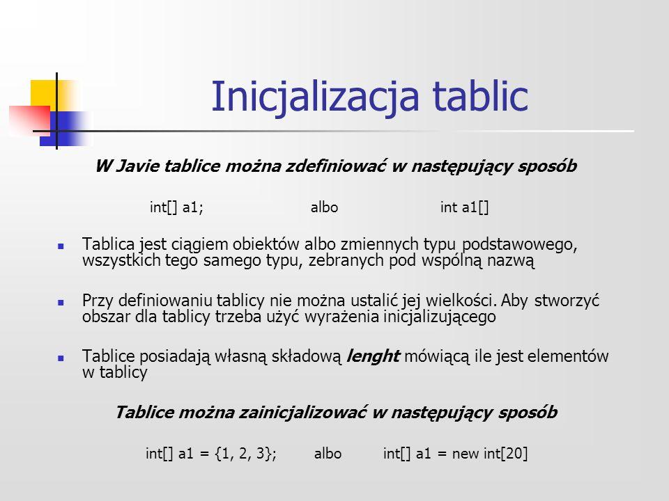 Inicjalizacja tablic W Javie tablice można zdefiniować w następujący sposób. int[] a1; albo int a1[]